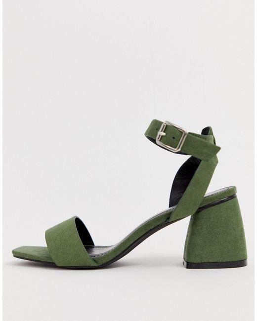 Green Block Heel Sandals