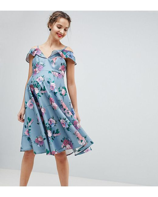 1012094beb Chi Chi London - Blue Printed Midi Dress With Cold Shoulder Detail - Lyst  ...