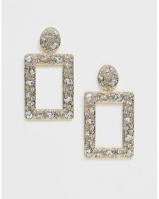 ASOS Metallic Doorknocker Earrings With Crystal Embellishment In Gold Tone