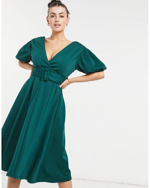 Темно-зеленое Платье Миди Для Выпускного С Глубоким Вырезом, Поясом И Расклешенной Юбкой ASOS, цвет: Green