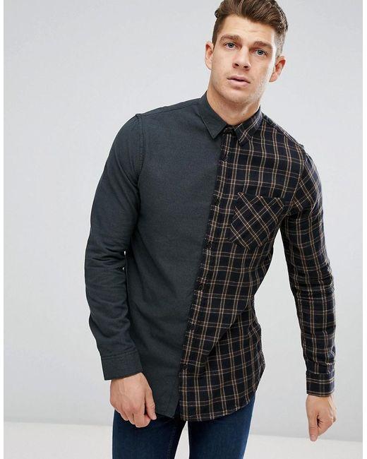 New Look   Regular Fit Half Check Shirt In Green for Men   Lyst
