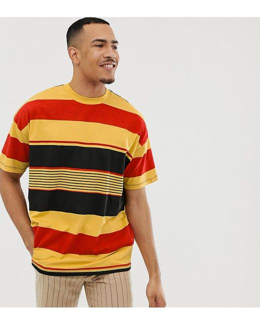 59cbdcc0 ASOS - Yellow Tall Oversized Organic Cotton T-shirt With Thick Retro Stripe  for Men ...