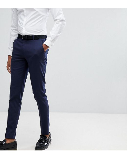 7123711e9a1c ASOS - Blue Tall Skinny Smart Pants In Navy for Men - Lyst ...