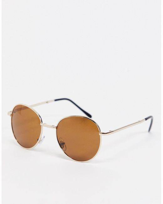 Складные Солнцезащитные Очки В Золотистой Оправе С Коричневыми Стеклами -золотистый South Beach, цвет: Brown