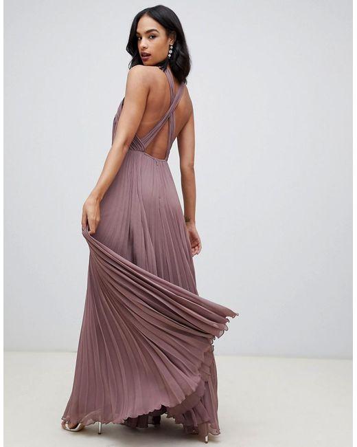 ab76237eae2f Vestido largo con cuello halter y cuerpo plisado de mujer de color morado