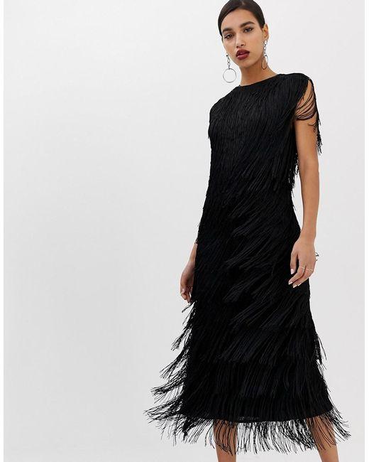 ASOS Black Fringe Column Midi Dress