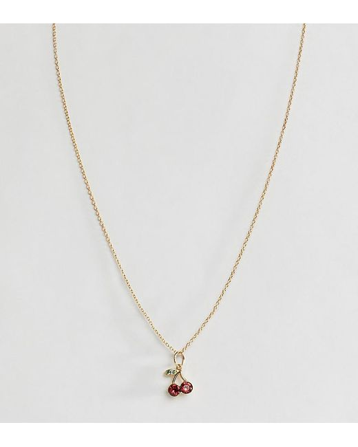 ASOS - Metallic Sterling Silver With Gold Plate Necklace With Crystal Cherry Pendant - Lyst