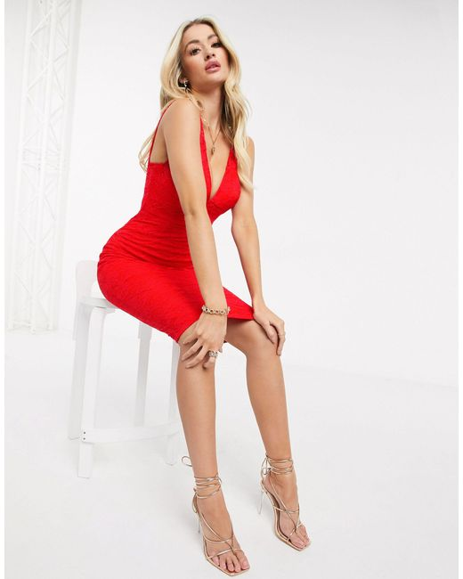 Красное Кружевное Платье-футляр -красный AX Paris, цвет: Red