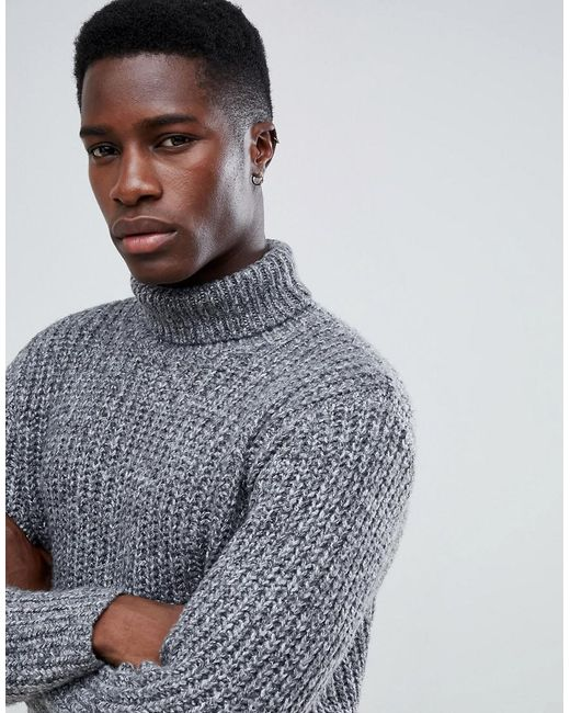 eade2873e5f Men's Heavyweight Fisherman Rib Roll Neck Sweater In Gray