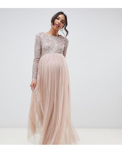 Vestidos de dama con manga larga