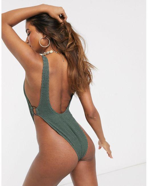 Фактурный Слитный Купальник -зеленый South Beach, цвет: Green