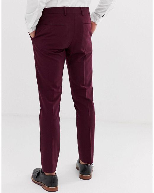 Pantaloni da abito da matrimonio skinny bordeaux di River Island in Red da Uomo