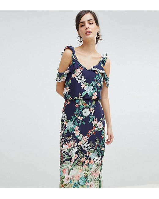 333af8b9aa38 Oasis - Blue Fitzwilliam Cold Shoulder Floral Print Midi Dress - Lyst ...