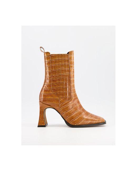 Светло-коричневые Кожаные Ботинки На Высоком Каблуке С Отделкой Под Кожу Крокодила ASOS, цвет: Brown