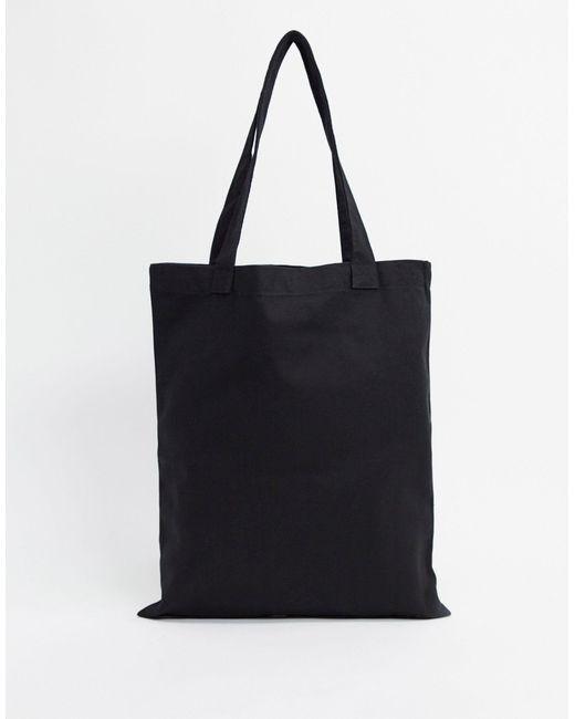 Черная Кожаная Сумка-тоут Из Плотной Ткани ASOS для него, цвет: Black