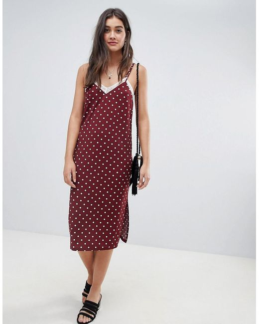 6974c706053db ASOS - Multicolor Polka Dot Slip Dress With Lace Insert - Lyst ...