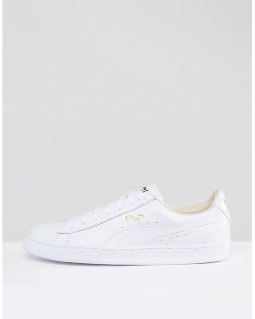 Men's Classic Basket White Leather In Sneakers wOZiuTkXP