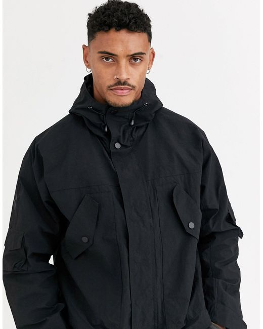 ASOS Black Windbreaker Jacket With Utility Detail for men