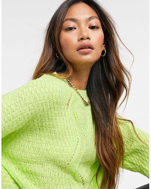 Лаймовый Джемпер С Объемным Шевронным Узором И Косами -зеленый AX Paris, цвет: Green