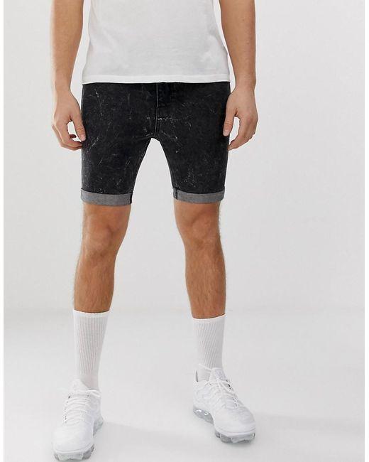 311b78822a Religion - Black Slim Fit Denim Shorts In Acid Wash for Men - Lyst ...