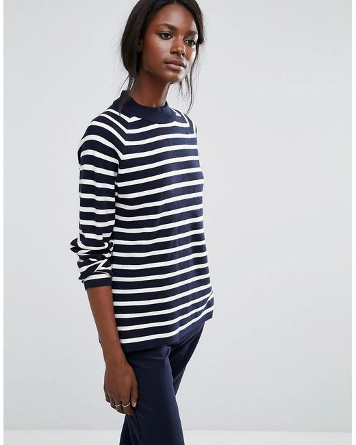 SELECTED | Blue Long Sleeve High Neck Knit | Lyst