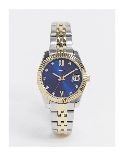 Часы С Темно-синим Циферблатом И Двухцветным Металлическим Браслетом Es4899-мульти Fossil для него, цвет: Multicolor