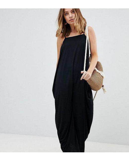 f20bded8193 ASOS - Black Asos Design Petite Tab Back Drape Hareem Maxi Dress - Lyst ...