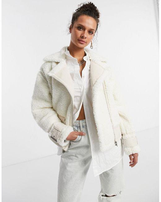 Светлая Дубленка Из Искусственной Овчины -белый TOPSHOP, цвет: White