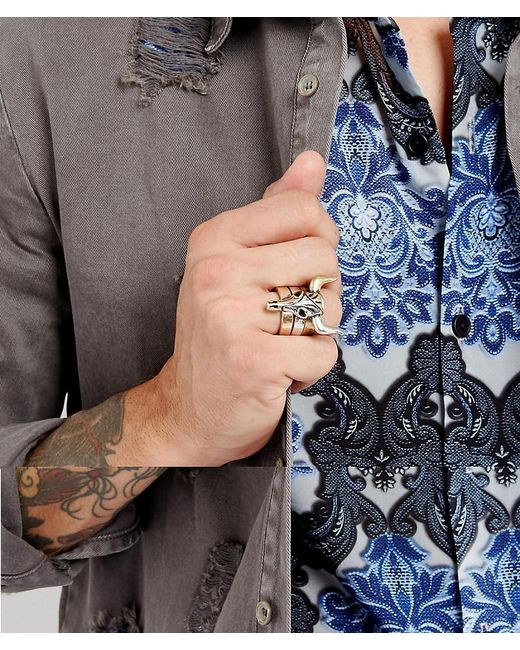 ASOS | Multicolor Ring Pack With Rams Head Design In Mixed Metals for Men | Lyst