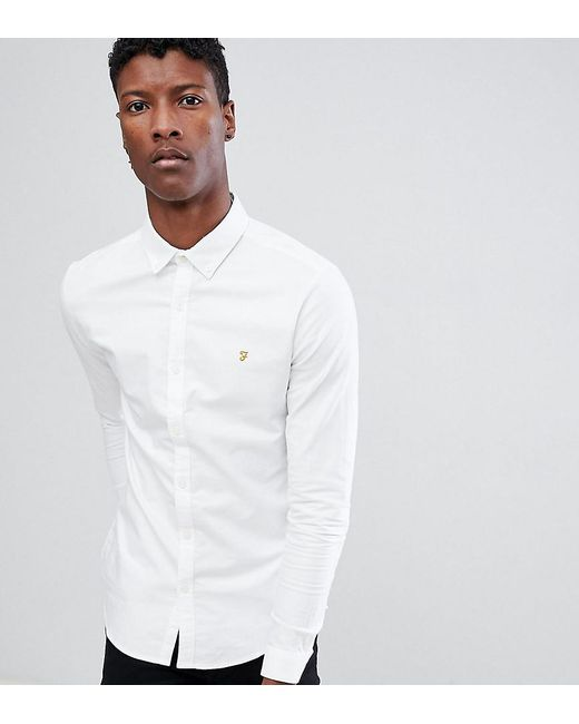 5a897e996bb Farah - Stretch Skinny Fit Oxford Shirt Buttondown Exclusive In White for  Men - Lyst ...