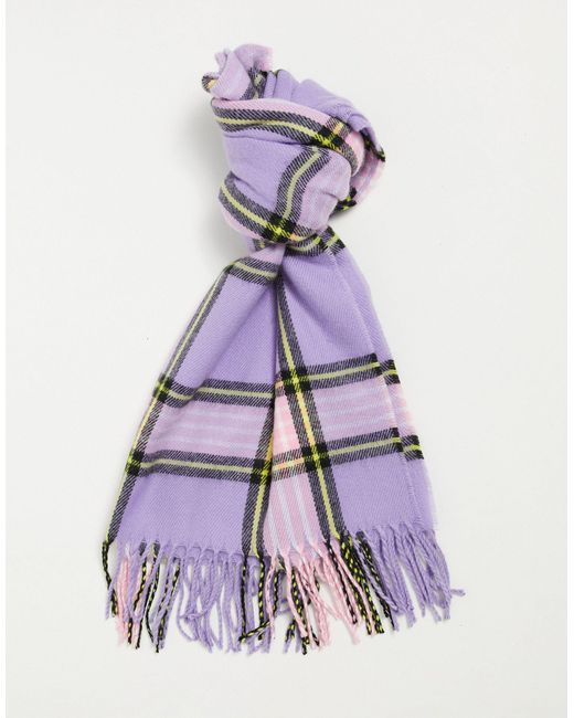 Сиреневый Клетчатый Шарф В Стиле 90-х С Кисточками ASOS, цвет: Purple