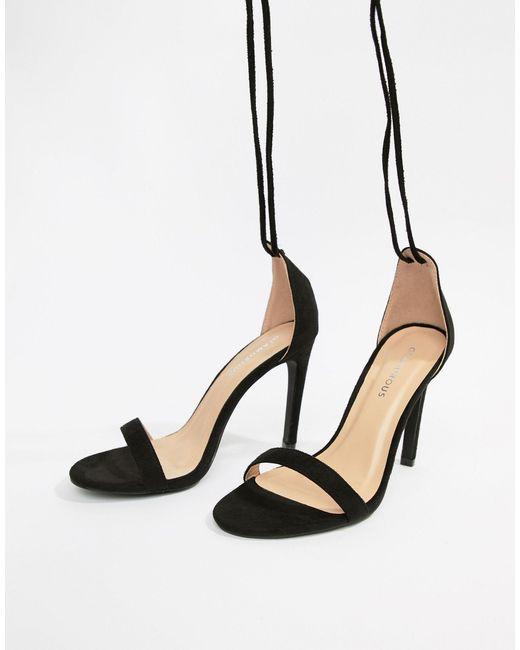 Glamorous Black Ankle Tie Heeled