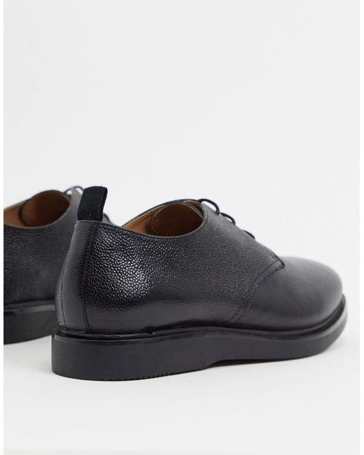 Черные Кожаные Туфли На Шнуровке -черный H by Hudson для него, цвет: Black