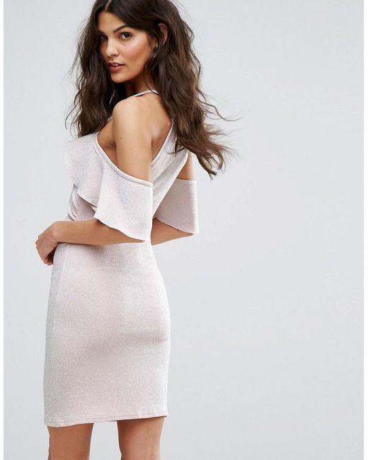 4fd071201d640c ... Lipsy - Pink Cold Shoulder Frill Mini Dress In Glitter - Lyst