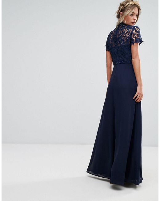 Chi Chi London Blue 2 In 1 High Neck Maxi Dress With Crochet Lace