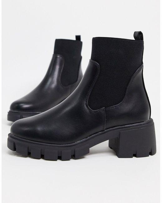Черные Ботинки Челси На Массивной Подошве ASOS, цвет: Black
