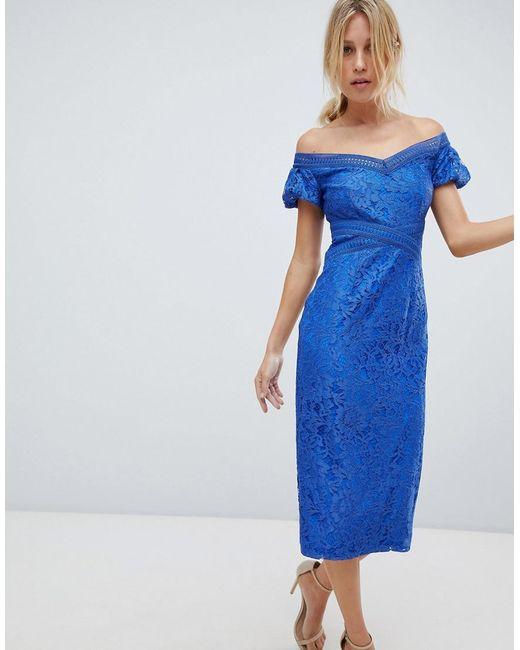 Little Mistress - Blue Off Shoulder Lace Pencil Midi Dress - Lyst