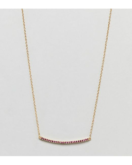 Shashi Metallic Sterling Silver 18k Gold Plated Crystal Pave Bar Necklace Lyst