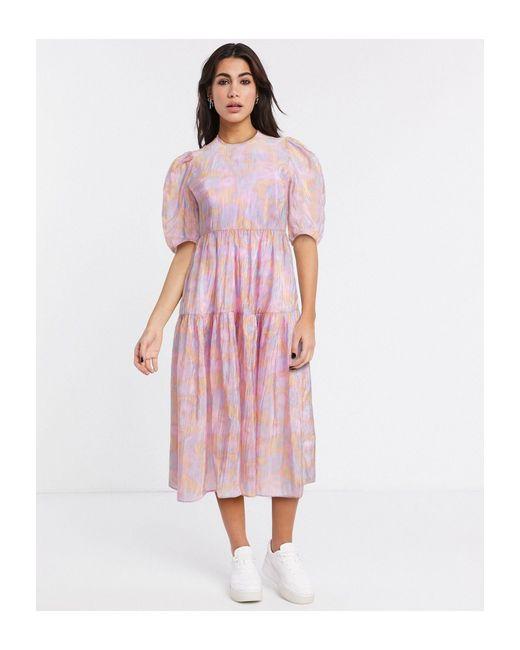 & Other Stories Vestido midi rosa con mangas abullonadas y diseño estampado de mujer
