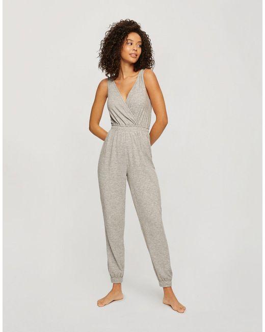Серый Трикотажный Пижамный Комбинезон Miss Selfridge, цвет: Gray