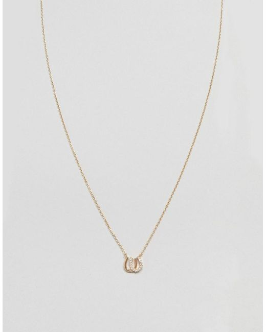 ASOS - Metallic Design Necklace With Crystal Horseshoe Pendant In Gold - Lyst