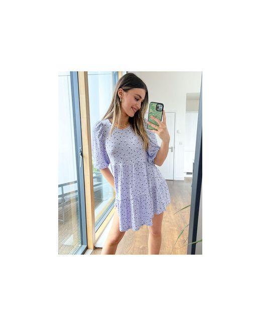 Сиреневое Ярусное Платье Мини С Присборенной Юбкой И Цветочным Принтом Mari-многоцветный Monki, цвет: Blue