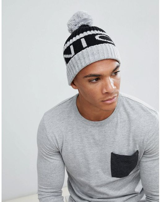 Nicce London - Gray Nicce Bobble Hat In Grey With Logo for Men - Lyst