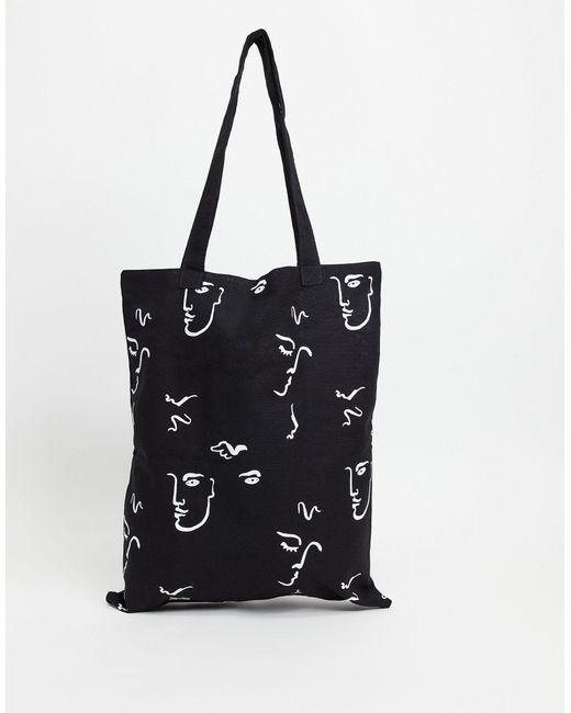 Черная Сумка-тоут Из Плотной Парусины С Принтом Рисунков От Руки ASOS для него, цвет: Black