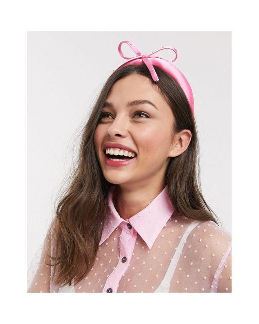 Розовый Атласный Обруч Для Волос С Бантом ASOS, цвет: Pink