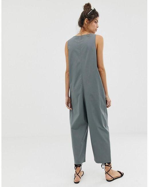 da2d76c9a1 ... ASOS - Gray Sleeveless Button Front Boilersuit - Lyst