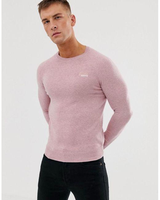 Superdry Orange Label - Trui Met Ronde Hals In Roze in het Pink voor heren