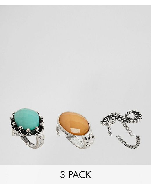 ASOS DESIGN - Metallic Pack Of 3 Burnished Faceted Stone Rings - Lyst