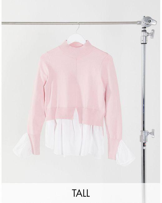 Светло-розовый Джемпер «2 В 1» С Имитацией Рубашки New Look, цвет: Pink