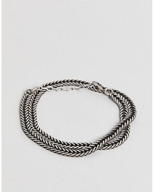 Seven London - Black Chain Bracelet In Silver for Men - Lyst